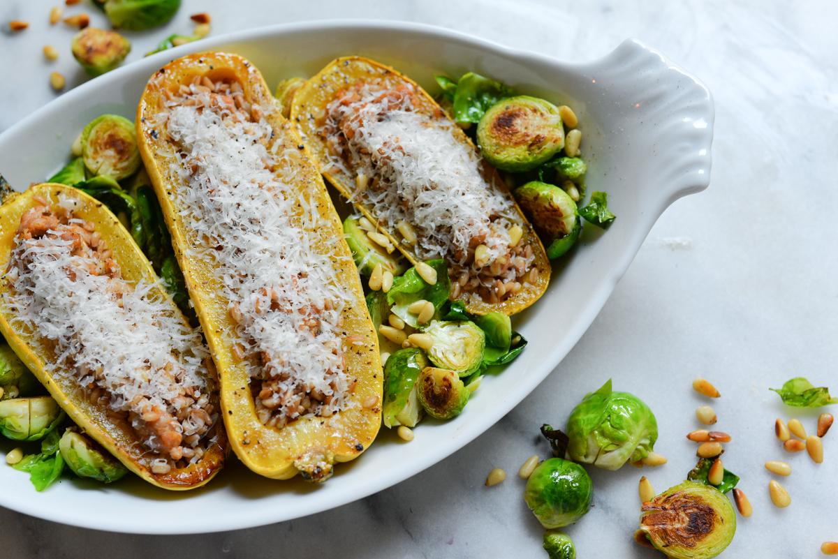 sausage farro delicata squash recipe