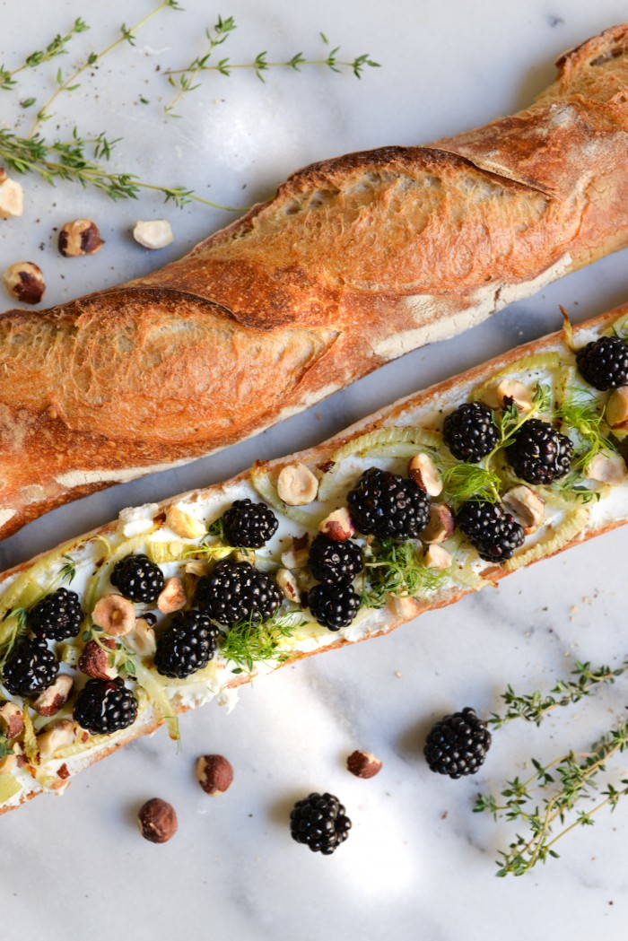Blackberry, Goat Cheese and Fennel Crostini