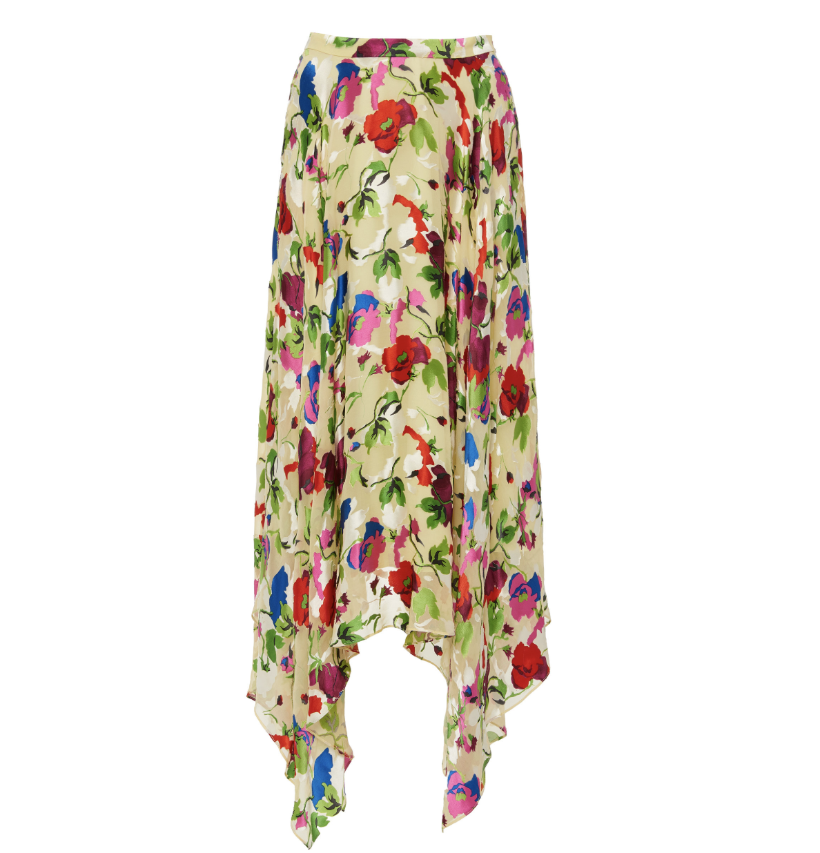 Saloni Floral Print Silk Midi Skirt