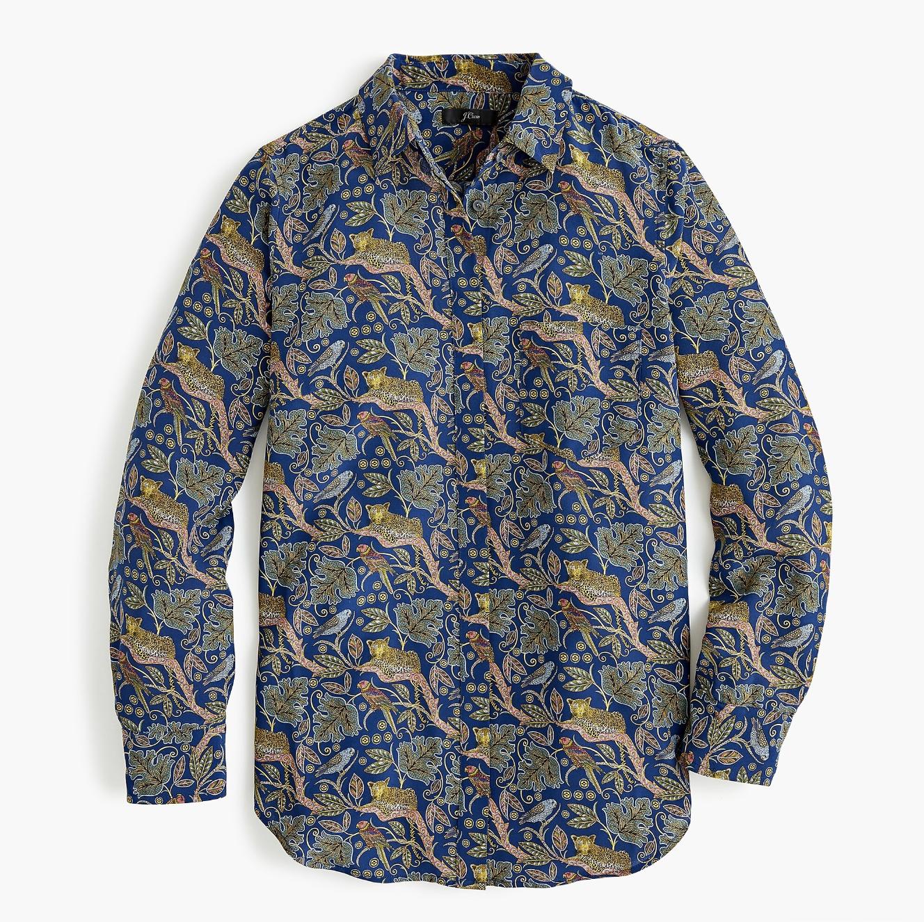 J.Crew Collection Leopard Silk Blouse