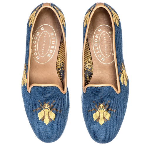 Stubbs and Wootton Bee Neddlepoint Loafers