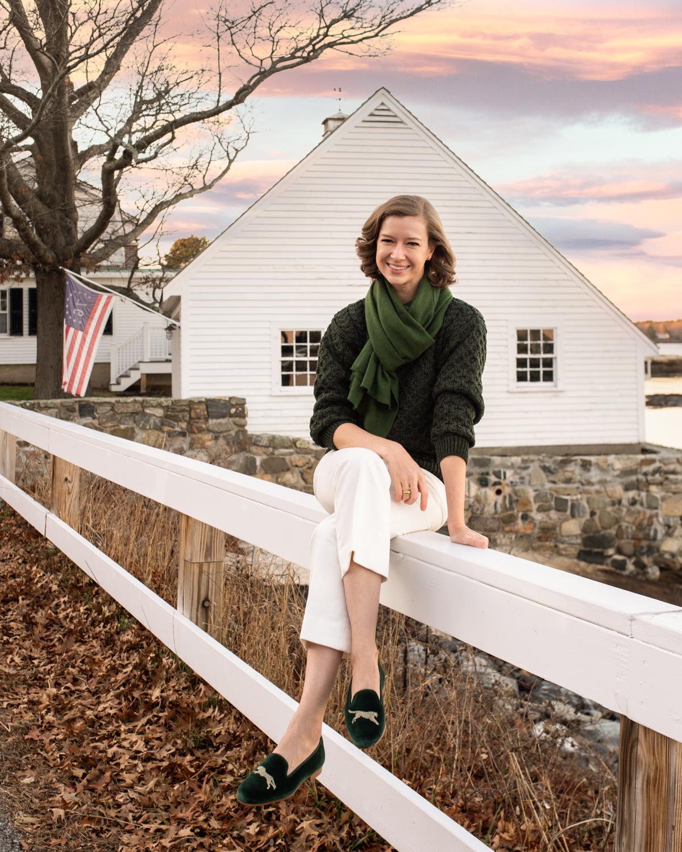 Stacie Flinner Heidi Wynne Sweater Green Stubbs Loafers.jpg