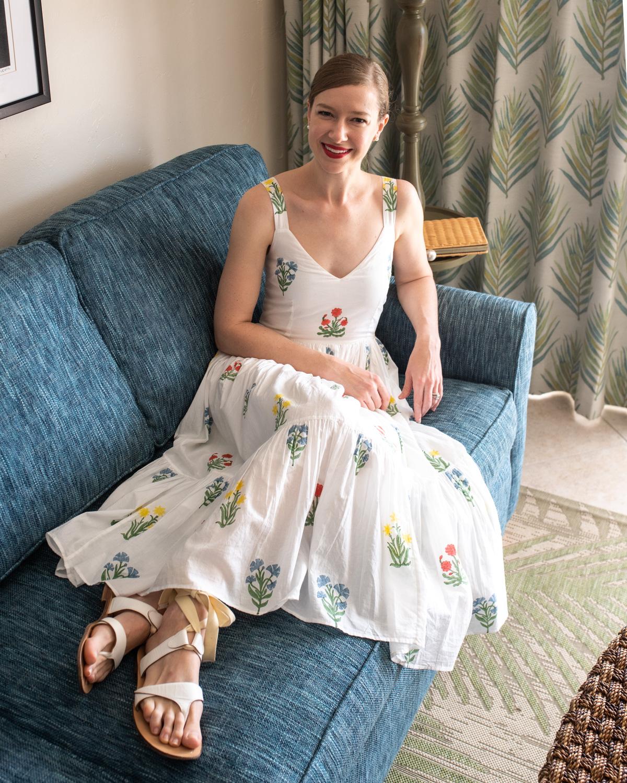 Stacie Flinner Day Dress Embroidered Midi Dress