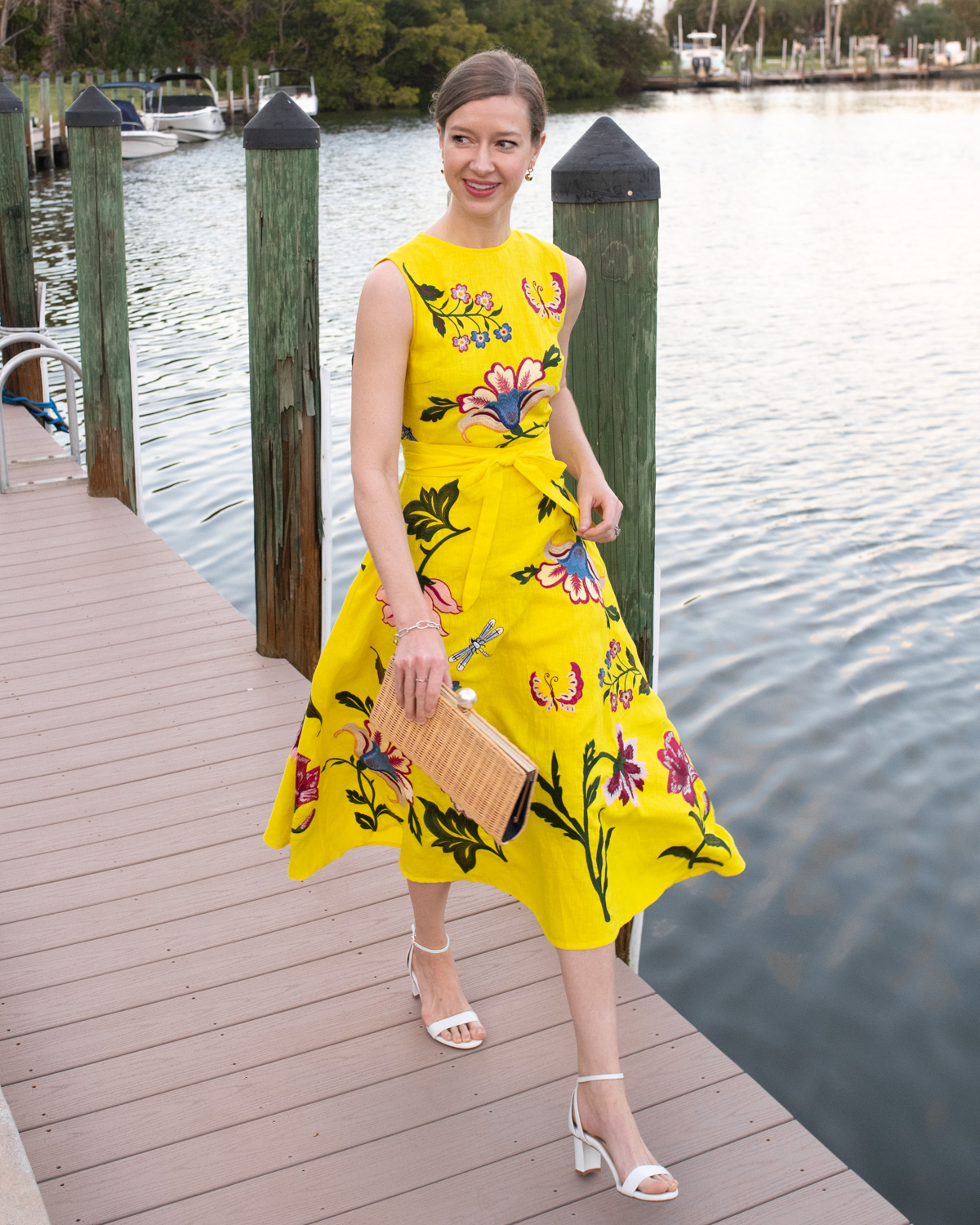 Stacie Flinner Fanm Mon Yellow Embroidered Dress