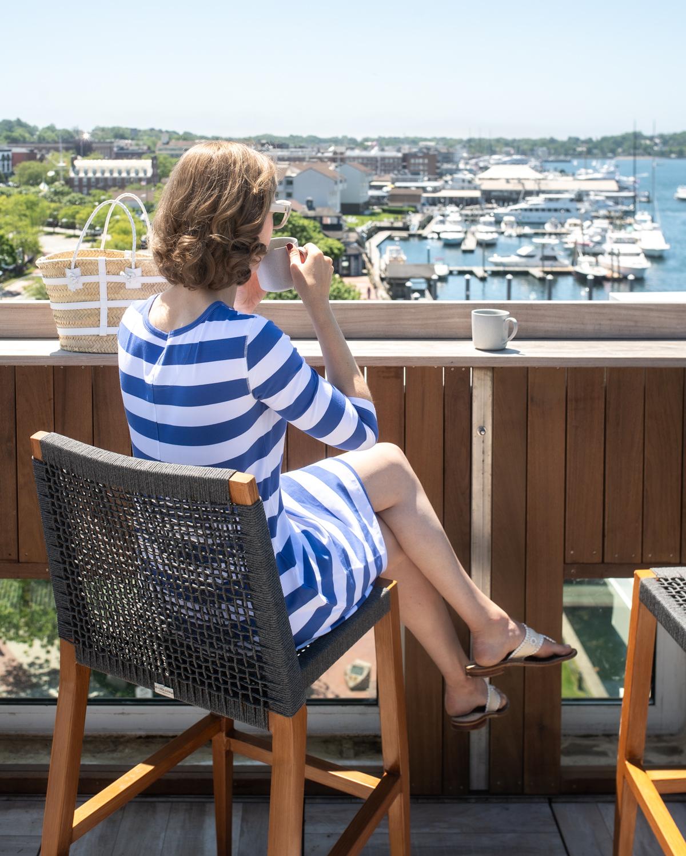 Stacie Flinner Daily Look Tyler Boe Striped Knit Dress